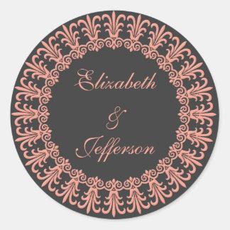 Sello/pegatina del sobre del rosa 3 de Wedgewood