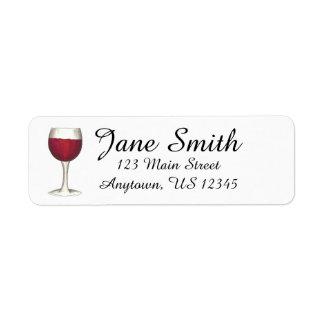 Sello personalizado copa de vino roja de la etiqueta de remite