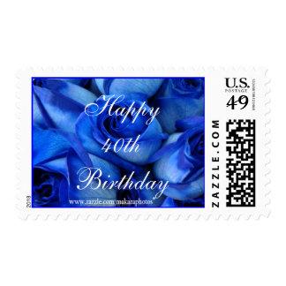 Sello-personalizar azul del franqueo de los rosas timbre postal