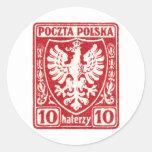 sello polaco de 1919 10h Eagle Pegatina Redonda
