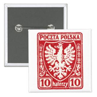 sello polaco de 1919 10h Eagle Pin Cuadrada 5 Cm