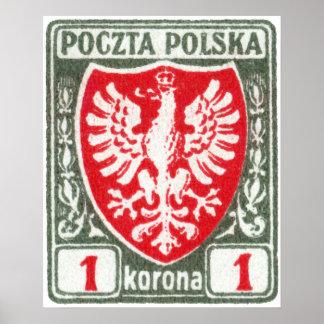 sello polaco de 1919 1k Eagle Poster