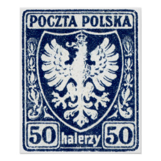 sello polaco de 1919 50h Eagle Impresiones