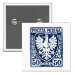 sello polaco de 1919 50h Eagle Pin Cuadrada 5 Cm
