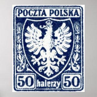 sello polaco de 1919 50h Eagle Póster