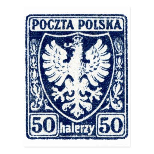 sello polaco de 1919 50h Eagle Tarjeta Postal