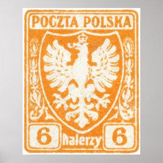 sello polaco de 1919 6h Eagle Poster