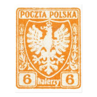 sello polaco de 1919 6h Eagle Tarjeta Postal