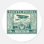 sello polaco del correo aéreo 1925 10gr pegatina redonda