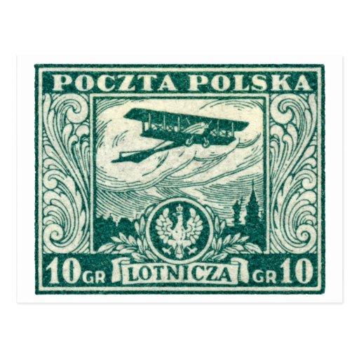 sello polaco del correo aéreo 1925 10gr postal