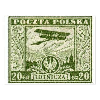 sello polaco del correo aéreo 1925 20gr postales