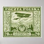 sello polaco del correo aéreo 1925 20gr poster