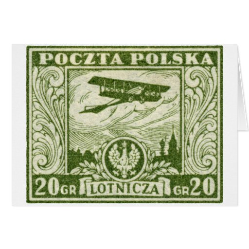 sello polaco del correo aéreo 1925 20gr tarjetón