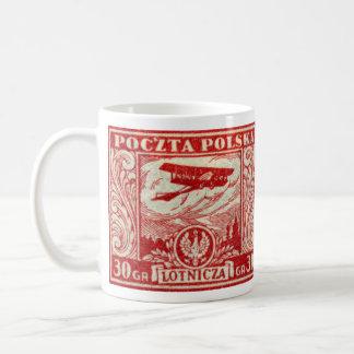 sello polaco del correo aéreo 1925 30gr tazas de café