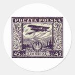 sello polaco del correo aéreo 1925 45gr pegatina redonda