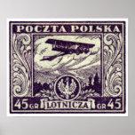 sello polaco del correo aéreo 1925 45gr poster