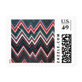 Sello postal de la aguamarina del zigzag negro cor