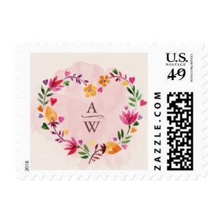 Sello postal del corazón de la acuarela floral de