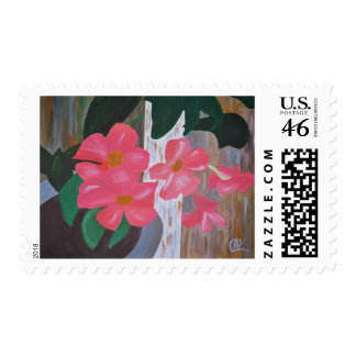 Sello postal del Mandevilla rosado