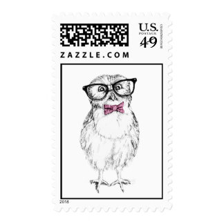 Sello postcrossing del owlet Nerdy