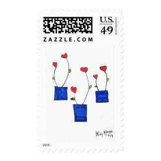 sello potted del día de San Valentín de los corazo