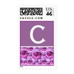 Sello púrpura de los rosas de la letra C del monog