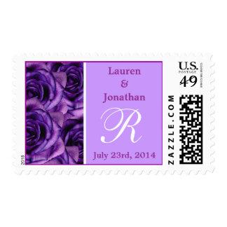 Sello púrpura de los rosas de la letra R del monog