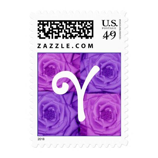 Sello púrpura de los rosas de la letra Y del monog