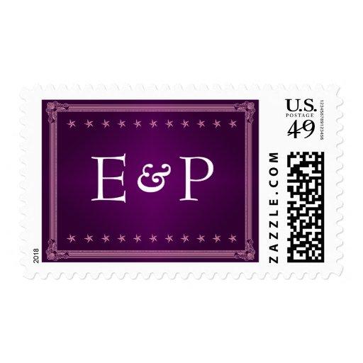 Sello púrpura del boda del monograma del estilo de