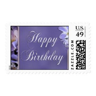 Sello púrpura del cumpleaños de la flor