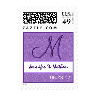 Sello púrpura del monograma del damasco del boda