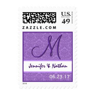 Sello púrpura del monograma del damasco del boda d