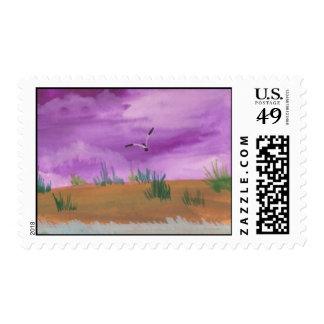 Sello púrpura del paisaje marino y de la gaviota