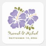 Sello púrpura del pegatina del favor del boda del