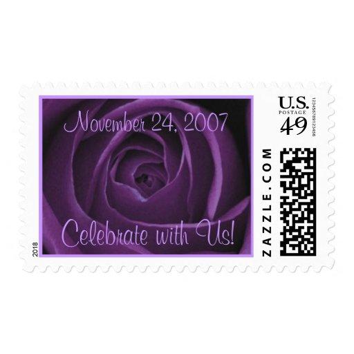 Sello púrpura del rosa