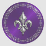 Sello púrpura del sobre de la flor de lis de Sheen Pegatinas Redondas