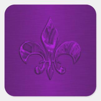 Sello púrpura del sobre de la flor de lis pegatinas cuadradas