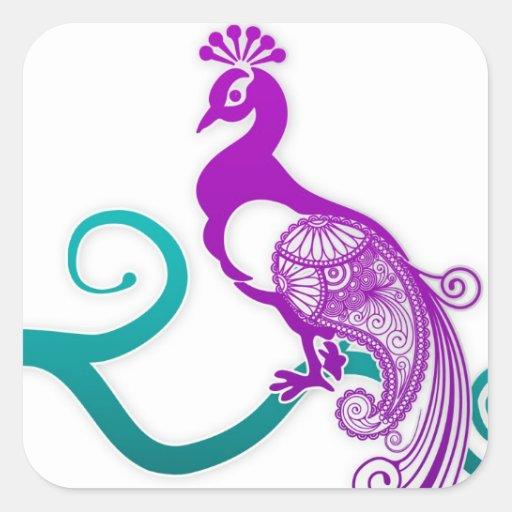 Sello púrpura del sobre del boda del pavo real de colcomanias cuadradas personalizadas