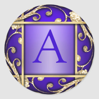 Sello púrpura del sobre del monograma del enrejado pegatina redonda