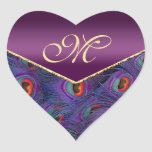 Sello púrpura del sobre del monograma del pavo rea pegatina corazon personalizadas