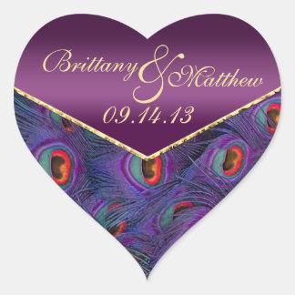 Sello púrpura del sobre del pavo real del ciruelo pegatina en forma de corazón