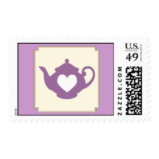 Sello púrpura dulce de la fiesta del té de la