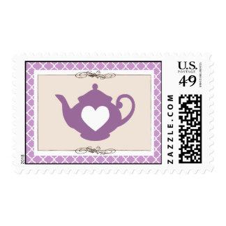 Sello púrpura dulce de la fiesta del té de la tete