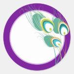 Sello púrpura moderno del sobre del boda del pavo  pegatina