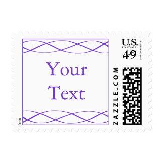 Sello púrpura y blanco con el texto de encargo