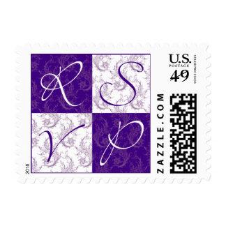 Sello púrpura y blanco de RSVP