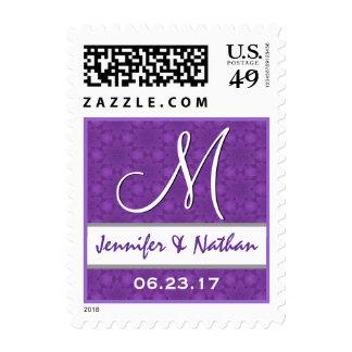 Sello púrpura y blanco del monograma del boda del