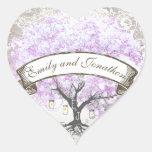 Sello radiante del boda del árbol de la hoja de la