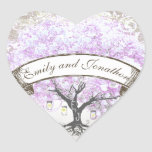Sello radiante del boda del árbol de la hoja de la calcomanía corazón