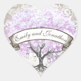 Sello radiante del boda del árbol de la hoja de la pegatina en forma de corazón